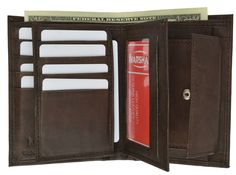 Genuine Leather European Hispter Bifold Wallet with 2 center Flaps and Coin Purse for Men 618 CF (C)