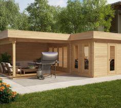 flachdach gartenhaus in naturholz, mit einladender terrasse zum ... - Moderne Gartenhuser Zum Wohnen