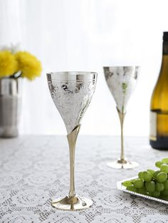 Indian Handcrafted Silver Plated Coated Brass Wine Goblet Glasses Set of 2 Pcs