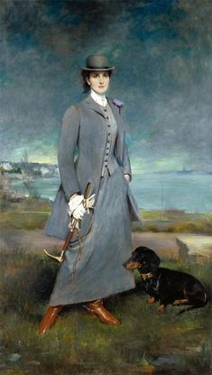 like the background & foreground treatment == artist Charles Albert Walhain's Portrait of Countess de la Maitrie in Equestrian Dress w/ her dog (1910)
