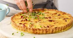 This bacon, onion and cheese tart is always a favourite. I like to use a rich shortcrust pastry (pâté brisée) flavoured with cheese to give it an extra dimension. Quiche Lorraine Recipe, Cheese Tarts, Savory Tart, Shortcrust Pastry, Cake Flour, Salted Butter, Cheddar Cheese, Wine Recipes, Onion