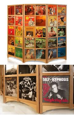 Album covers used for this unique divider, would be cool in a music/family room.
