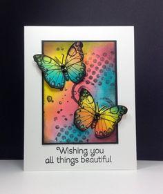 Antique Flowers and butterflies: Hero arts, sponging, rainbow, by beesmom at splitcoast