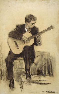 The Guitarist ( Miguel Llobet) - ramon Casas i Carbó