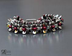 Bracelet rouge et noir Khéops de Puca® Perles cristal Bohème gouttes et pastilles Rocailles japonaises Fermoir argent de la boutique Lilyperles sur Etsy
