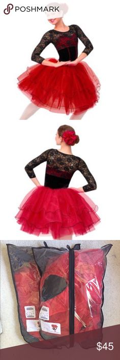 NWT Glistening Dee Curtain Call Dance Costume Black stretch velvet and red nylon/spandex leotard with stretch lace front and back bodice overlay and sleeves, piping trim, and attached tricot skirt. INCLUDES: flower barrette. Made in the U.S.A. or imported. Never worn. Curtain Call Costumes Costumes Dance