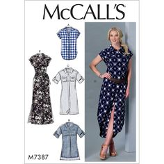 Misses Button-Down Top, Tunic, Dresses and Belt McCalls Sewing Pattern 7387.
