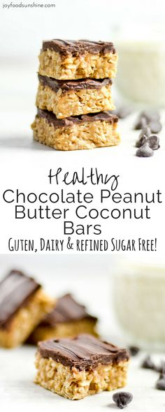 Chocolate Peanut Butter Coconut Bars! Peanut butter, honey, coconut and oats make up these delicious dessert bars! Gluten-free, dairy-free, and refined-sugar free. You get the taste of a decadent dessert with zero guilt!