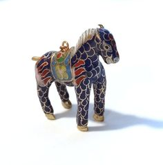 Vintage Horse Pendant Colorful Cloisonne Enamel Cobalt Blue Gold Gilding Antique Chinese Export Asian Jewelry Gift Ideas