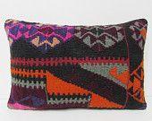 kilim pillow lumbar 16x24 hippie pillow tribal fabric area rug throw pillow turkish pillow slip cover tribal decor kilim lumbar pillow 26962
