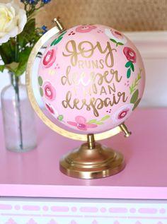 """Joy runs deeper than despair"" Painted Globe, Hand Painted, Map Crafts, Going Away Parties, Globe Art, Wedding Quotes, Metallic Paint, Globes, Custom Paint"