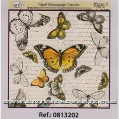 Papel de Decoupage 0813202 Mariposas 30x30 cm. Dayka
