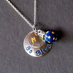 MICHIGAN - University of Michigan Wolverines inspired Hand Stamped Necklace - College Jewelry - High School Jewelry - Graduation Gift