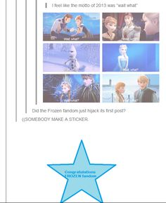 The Frozen Fandom hijacks their 1st tumblr post! <-- Congratulations fandom! o3o *gives cookie*