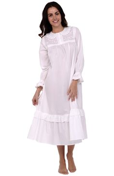 Del Rossa Women's Felicity 100% Cotton Long Victorian Nightgown, Large White (A0531WHTLG)