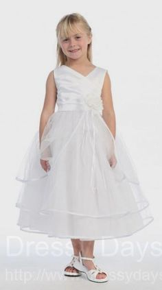 First Communion Dress with Three Tiered Tulle Skirt and Flower Accent : CBC0003