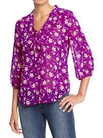 Petite: Blouses & Shirts | Old Navy  Tie-Yoke Floral Chiffon top, 3/4 banded sleeves, button down, tie collar -- make it in something less sheer, and also not 100% polyester?