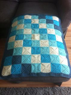 Blue granny square blanket throw pram sheet. by CastleKellyCrafts, €37.50