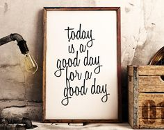 There's Good in Every Day, monochrome PRINTABLE wall art, black and white inspirational quote print Inspirational Wall Art, Motivational Posters, Quote Prints, Good Day, Printable Wall Art, Quote Of The Day, Printables, Handmade Gifts, Etsy