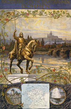 Böhmen (Bohemia), ca. 1905. Artist: Gustav Jahn (coll. Albertina, Vienna). Böhmen is perhaps Gustav Jahn's most traditional poster. With the city of Prague as a backdrop, the equestrian statue of King Wenceslas the Saint serves as a personification of Bohemia.