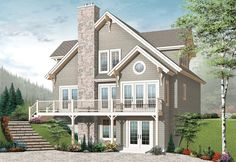 House Plan - This Cottage Plan features approximately square feet of living space and there is a walkout basement foundation. The interior is highlighted with approximately square feet of living space with bedrooms and 2 baths. The Sims, Sims 4, Lake House Plans, Best House Plans, Cottage House Plans, Cottage Homes, Lake Cottage, Plan Chalet, Drummond House Plans