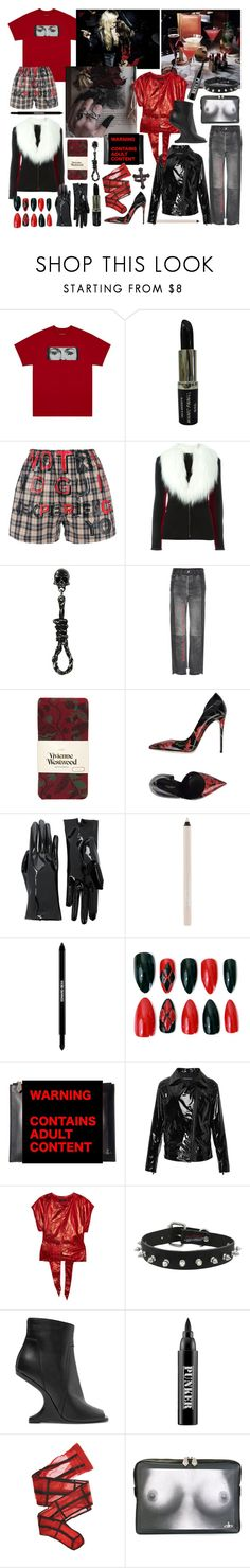"""""""the night for two broken souls"""" by nothingisnormal ❤ liked on Polyvore featuring Manic Panic NYC, Maison Margiela, Jean-Paul Gaultier, Vetements, Vivienne Westwood, Dolce&Gabbana, Gucci, Maybelline, Edward Bess and Sans Souci"""
