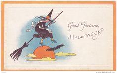 HALLOWEEN: Black Witch riding a broom, 00-10s - Delcampe.com