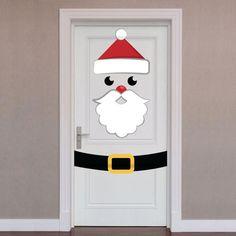 Door Wrap: Santa - X-Large Christmas Removable Wall Decal Enveloppe de porte: Sticker mural amovible Diy Christmas Door Decorations, Christmas Classroom Door, Christmas Art, Simple Christmas, Christmas Wreaths, Christmas Ornaments, Holiday Decor, Diy Weihnachten, Christmas Crafts
