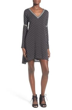 dee elle Cutout Back Long Sleeve Shift Dress available at #Nordstrom