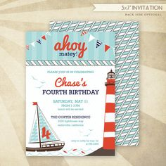 Custom Nautical Birthday Printable Invitation HWTM