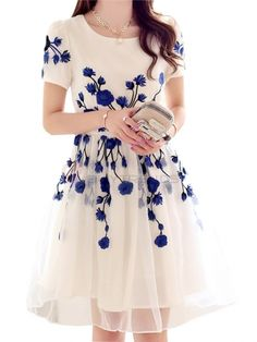 Embroidery Back Zipper Mid Waist Knee-Length Dress Women Summer Spring Casual Dress on buytrends.com