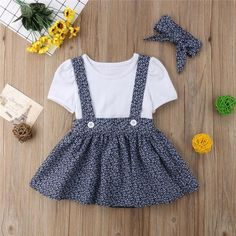 1 To 5 Year Toddler Baby Girl Clothes Set Short Sleeve White T-shirt and Overalls Bandage Skirt Headband Outfits Set – nooncart Baby Outfits Newborn, Baby Girl Newborn, Toddler Outfits, Kids Outfits, Cute Baby Outfits, Bandage Skirt, T-shirt Rock, Girl Sleeves, Little Girl Fashion