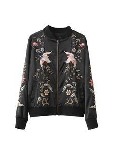 Black Embroidery Bomber Jacket Now Available at Pasa Boho