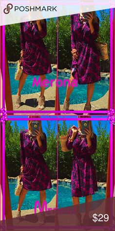 Merona Ahhhh the color just divine!, lovely loose laid back summer vibe in this Merona gorgeous tunic. Does have a tie to loosen or tighten around the middle. I personally wouldn't use it but it looks amazing!. Such a delight! Merona Dresses