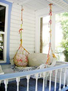DIY:: Upcycled wicker sofa is now a Shabby porch swing ! A Porch Swing with Ruffles & Lace! Wicker Sofa, Wicker Furniture, Wicker Swing, Wicker Dresser, Wicker Man, Wicker Planter, Wicker Baskets, Wicker Trunk, Wicker Headboard