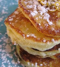 breakfast/brunch… Creamy, rich, and light as a soufflé: Lemon Ricotta Pancakes. 5 egg yolks; 5 egg whites; Zest of a lemon & orange; 1 cup whole milk; 1 1/2 cups ricotta cheese; 1/8 tsp vanilla; 1 cup cake flour, sifted; 2 1/2 tsp baking powder; 1/4 cup sugar; Dash of salt; 4 tbsp butter. Serve with Blueberry compote, lemon curd, or orange butter sauce (recipes there)