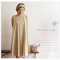【mizuiro-ind ミズイロインド】crew neck N/S flared op / クルー ネック ノースリーブ フレアー ワンピース(2-255302)