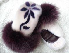 Inuit made sealskin mitts w/ fur trim by Victoria Gordon Adams