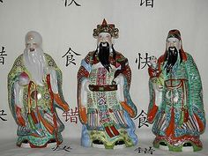 Chinese Antiques Devoted China Color Porcelain Peach Ruyi 3 Longevity God Fu Lu Shou Life Statue Set