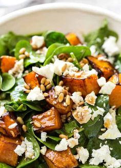 This Roast Pumpkin, Spinach and Feta Salad with a Honey Balsamic Dressing is a magical combination. Terrific side or as a meal. This Roast Pumpkin, Spinach and Feta Salad with a Honey Balsamic Dressing is a magical combination. Terrific side or as a meal. Salad Recipes For Dinner, Healthy Salad Recipes, Vegetarian Recipes, Cooking Recipes, Spinach Recipes, Recipe For Salad, Pumpkin Recipes Lunch, Salads For Lunch, Cooking Tips