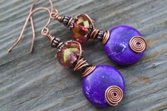 Imperial Elegance - Czech Glass and Purple Dyed Magnesite Earrings by SamsBeadShop on Etsy https://www.etsy.com/listing/203234083/imperial-elegance-czech-glass-and-purple