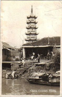 Southern China in early China Architecture, Ancient Greek Architecture, Gothic Architecture, Old Pictures, Old Photos, Vintage Photos, Shanghai, Asia, China Image