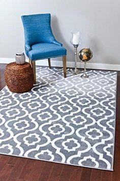 Persian Rugs Moroccan Trellis Area Floor Rug Carpet 5 x 7 Feet Gray Home Decor #PersianRugs