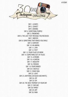 30 Day Instagram Challenge for November. Who's in?
