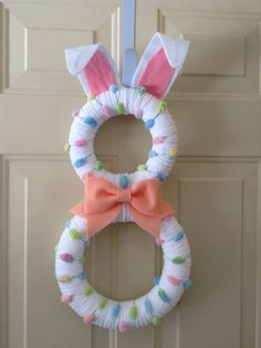 Easter Bunny Wreath Pastel Bunny by BlueHouseDesignz on Etsy, $55.00