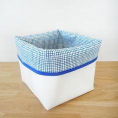 Panier de rangement - tissu fantaisie imprimé filet de pêche - tissu et simili…