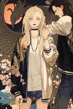 Qiu Tong x Sun Jing Tamen de Gushi by Tan Jiu Manga Girl, Chica Anime Manga, Anime Art Girl, Anime Girls, Anime Girlxgirl, Anime Demon, Kawaii Anime, Character Inspiration, Character Art