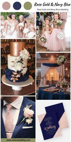 Navy Blue Wedding Theme, Blue And Blush Wedding, Rose Gold Theme, Gold Wedding Colors, Rose Wedding, Wedding Color Schemes, Dream Wedding, White Bridal, Rose Gold Weddings