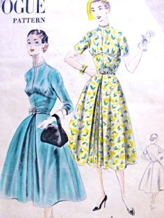 1950s Beautiful Dress Pattern Day or Party Easy To Make Vogue 7588  Flared Skirt Flattering Fitted Pointed Midriff Slit Neckline Bust 32 Vintage Sewing Pattern