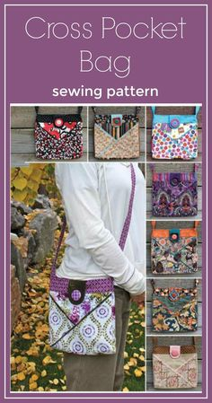Awesome bags! I have made about 15 of these bags as gifts. Cross Pocket Bag Sewing Pattern: Create a fat quarter friendly bag that is held together by a magnetic snap and can be accented by a decorative button. Cross Body Purse #sewing #sewingpattern #pattern #ad #tote #purse #diy